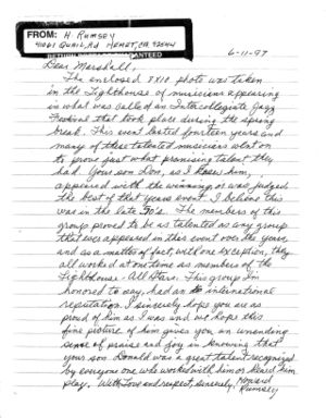 Letter from howard rumsey