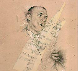 Bobby jaspar drawing & collage by doug rosenthal