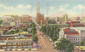 1930s Columbus Aerial View looking west down Broad Street from Memorial Hall