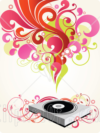 22196-Clipart-Picture-Of-A-Group-Of-Red-Pink-Green-And-Orange-Scrolls-Circles-And-Flowers-Above-A-Record-Music-Player-With-Pink-Floral-Vines