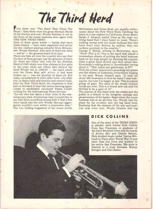 Dick collins in woody herman and the third herd brochure