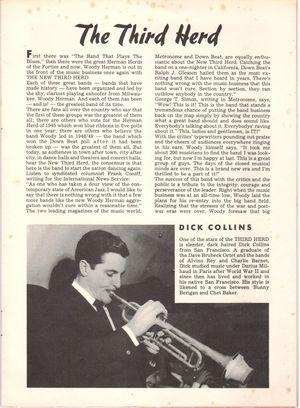 Dick collins in woody herman and the third herd brochure