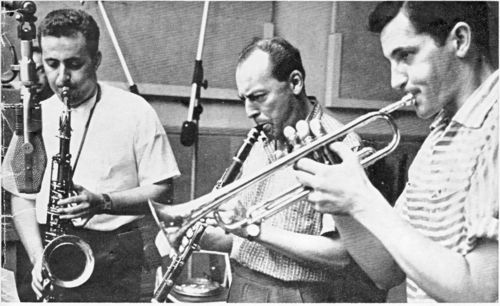Dick hafer-from left—dick hafer, woody herman and dick collins at capitol, early 50s