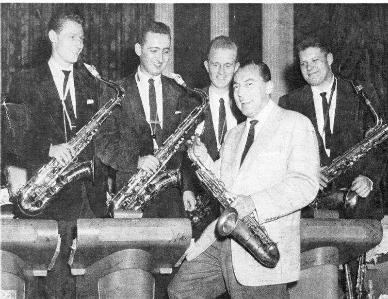 Dick hafer-From left, Arno Marsh, Dick Hafter, Bill Perkins, Sam Staff and Woody Herman in 1952