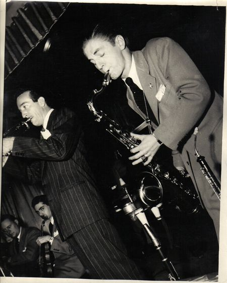 Jazz-Johnny DeVogue-left, Harry James-middle, Corky Corcoran-right