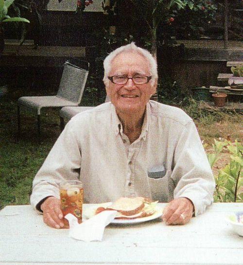 Anthony Ortega having lunch in backyard of home