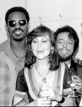Stevie Wonder, Bonnie Bowden, Sergio Mendes backstage at the Troubadour 1978