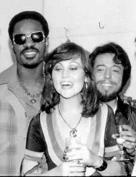 Stevie Wonder, Bonnie Bowden, Sergio Mendes backstage at the Troubadour 1978