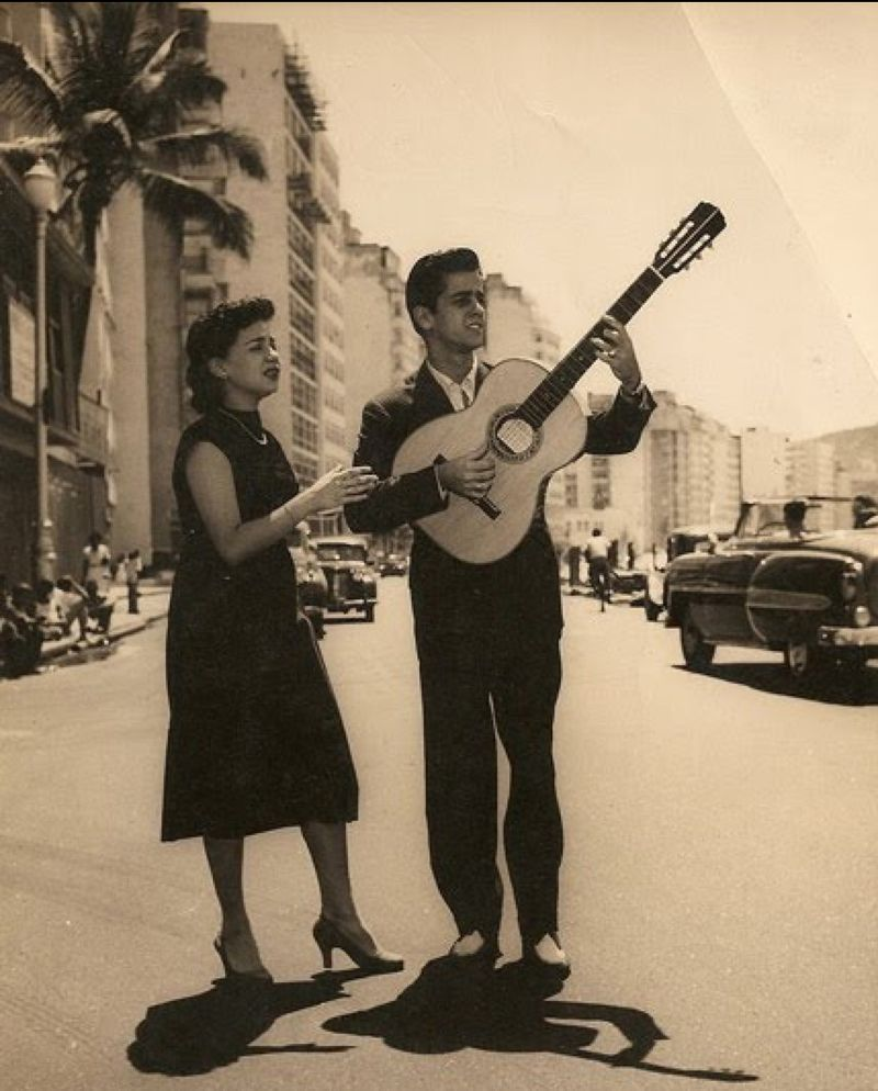 Sylvia Telles & her husband Candinho at Copacabana in 1955