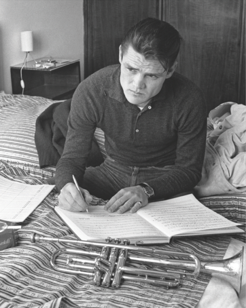 Rare shot of Chet Baker shortly after being released from prison in Lucca, Italy, 1961