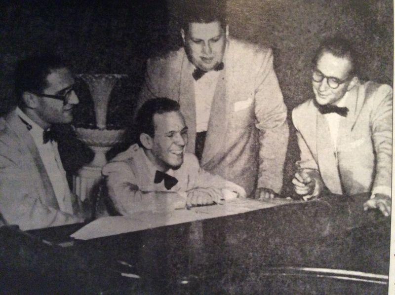 Downbeat:1952::al cohn, tiny kah and johnny mandel on right