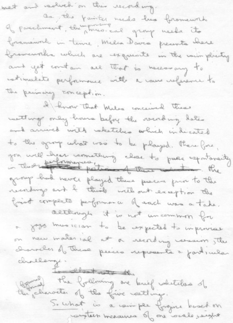 Bill Evans comments on Miles Davis Kind of Blue page 2
