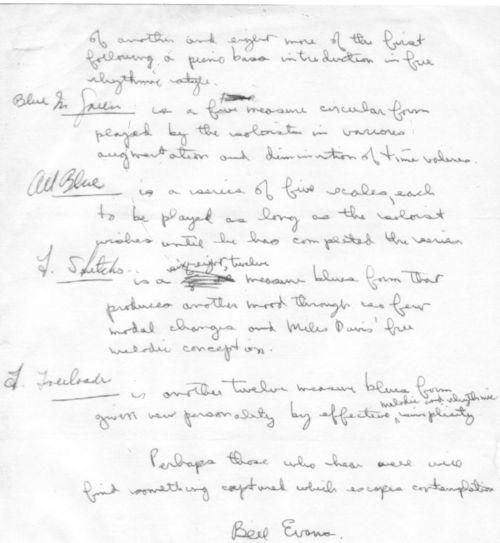 Bill Evans comments on Miles Davis Kind of Blue page 3